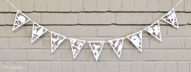 full DIY paper banner with adorable woodland creatures