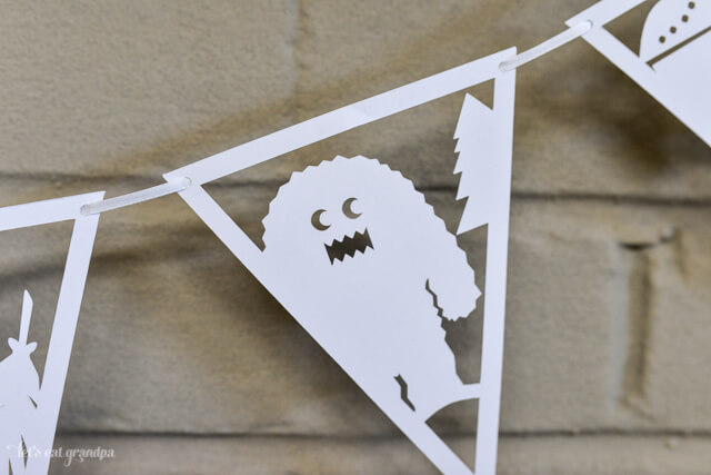 close up of DIY paper banner with adorable woodland creatures