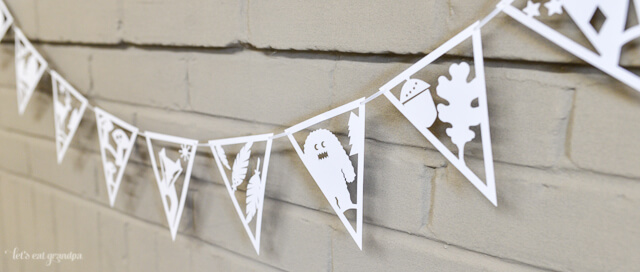 side view of DIY paper banner with adorable woodland creatures