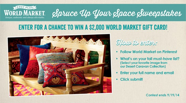 Enter to win the @worldmarket Spruce Up Your Space Sweepstakes -- Grand Prize is a $2000 gift card to World Market!