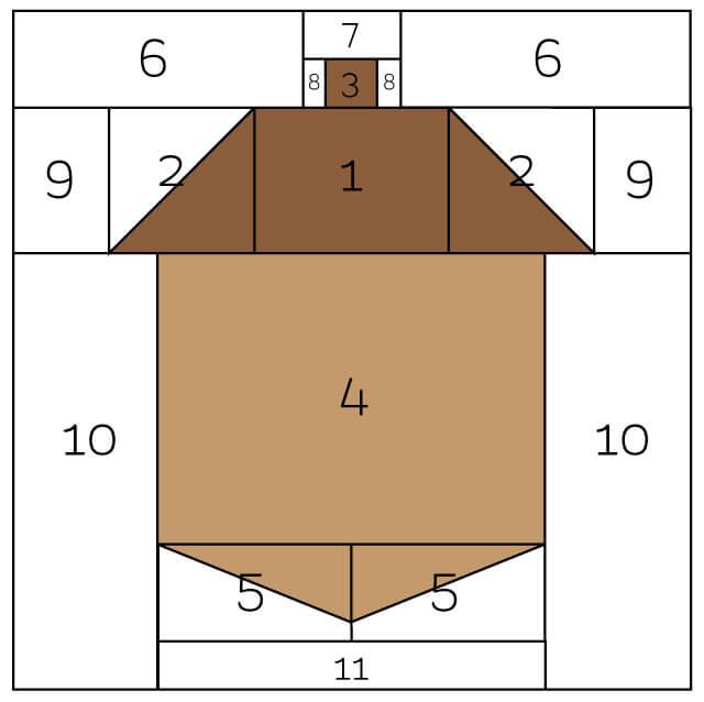 acorn quilt block cutouts on paper