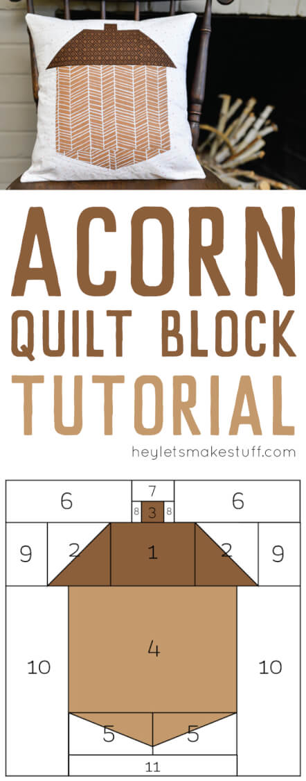 finished acorn quilt block pillow pin image