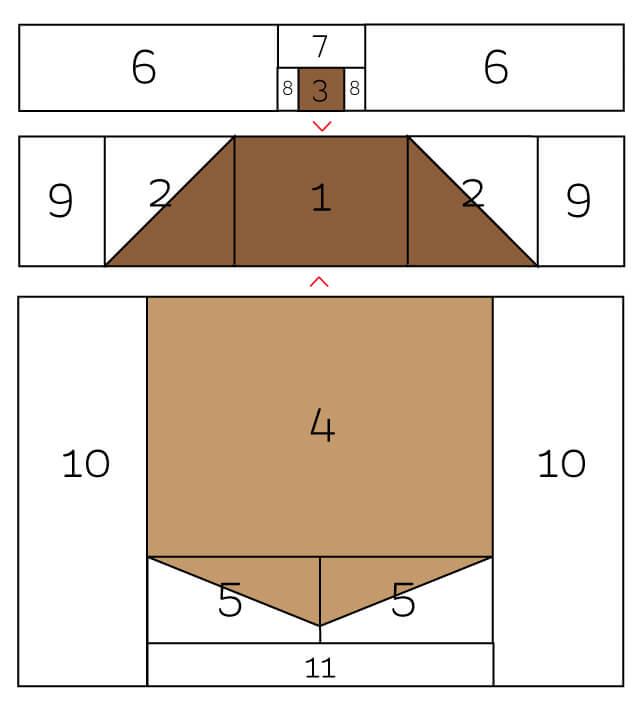 computer graphic showing acorn quilt block pieces and steps