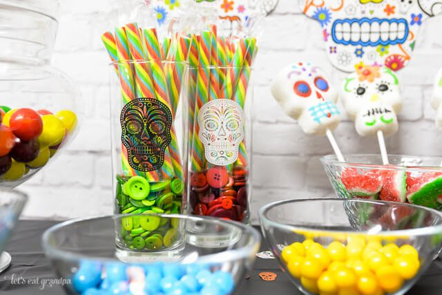 close up of vases and bowls for Dia de los Muertos Party Candy Bar
