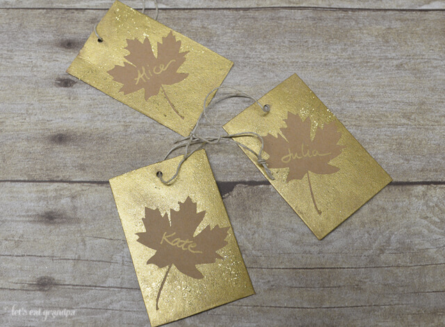 Make these easy fall leaf hostess gift tags using your Cricut or other cutting system. #FallHarvestIdeas