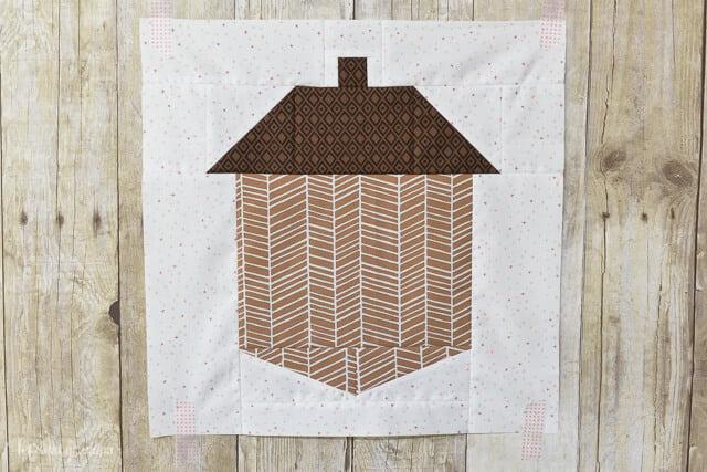 sewn acorn block quilt front of pillow