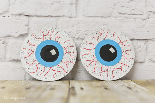 DIY Creepy Eyeball Coasters --perfect for a Halloween party! From @letseatgrandpa