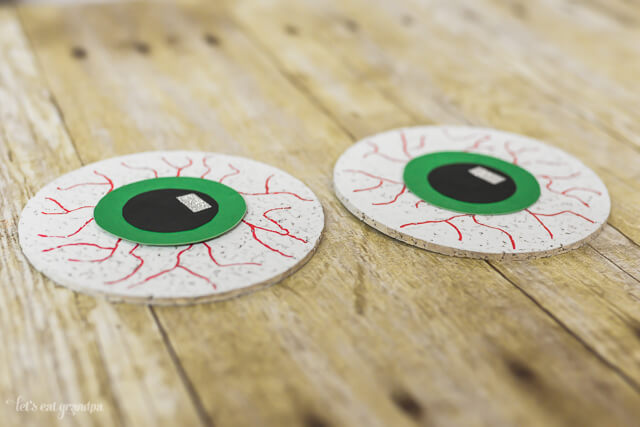 DIY Creepy Eyeball Coasters --perfect for a Halloween party! From @letseatgrandpa
