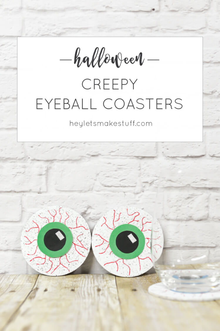 DIY Creepy Eyeball Coasters -- an easy craft that's perfect for a Halloween party!
