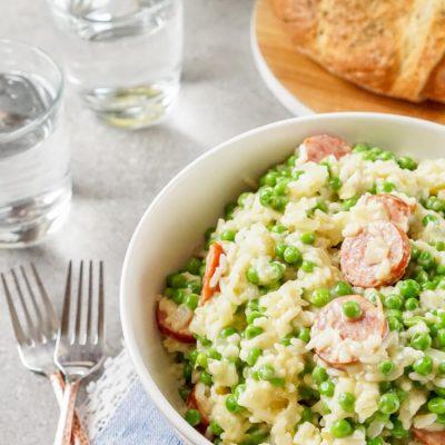 Polska Kielbasa Casserole with Peas and Rice