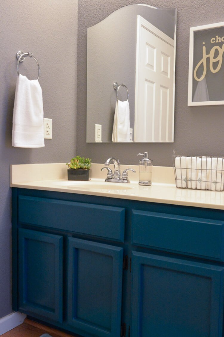 This Makeover Of A 1980s Oak Bathroom Is Stunning! Dark Teal Cabinets,  Modern Lighting