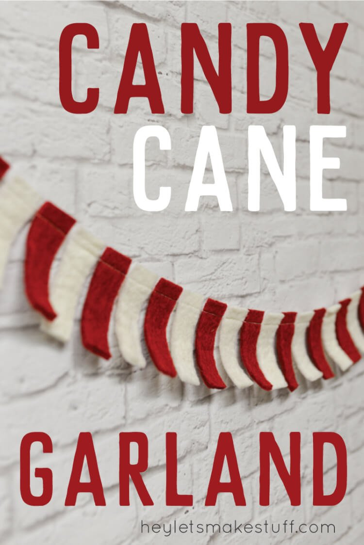 candy cane garland with red and white felt pin image