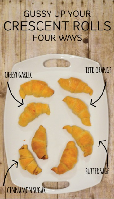 Gussy up your crescent rolls this Christmas! Cheese garlic, iced orange, cinnamon sugar, and butter sage.
