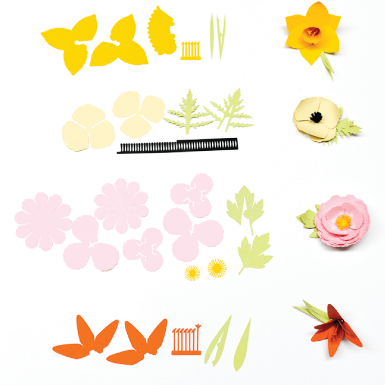 cutout pieces and finished versions of the Cricut flowers: daffodil, poppy, peony, and tiger lily.