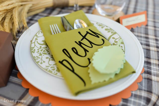 closeup of customized pocket napkins on Fall place setting