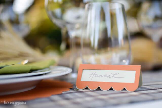name card at table setting