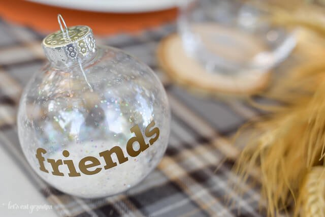 glass ornament on table setting