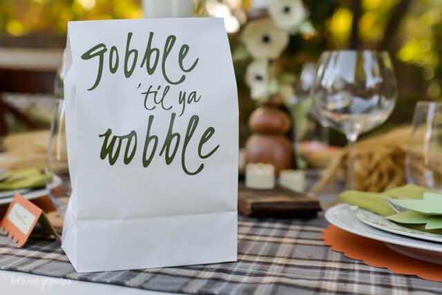 paper bag gobble til ya wobble at table
