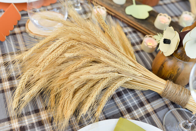 wheat as decor for Thanksgiving table setting