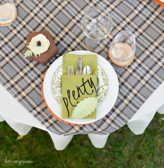 arial view of Thanksgiving napkin place setting on table