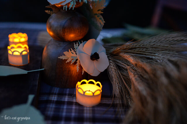 lit up votive candles