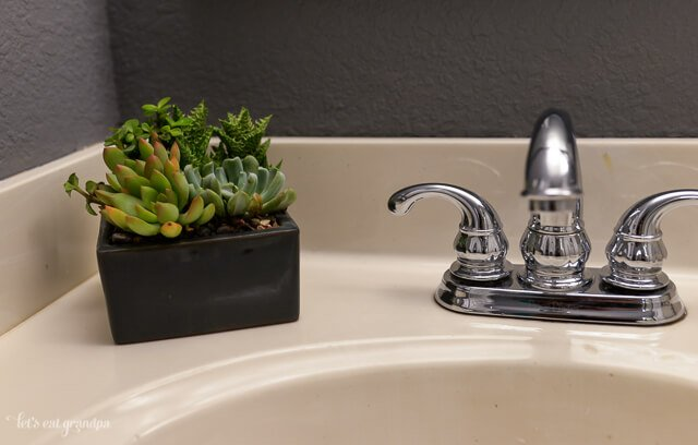 plant and sink in finished 1980s bathroom makeover