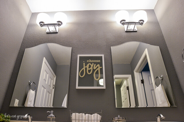 mirrors in finished 1980s bathroom makeover with