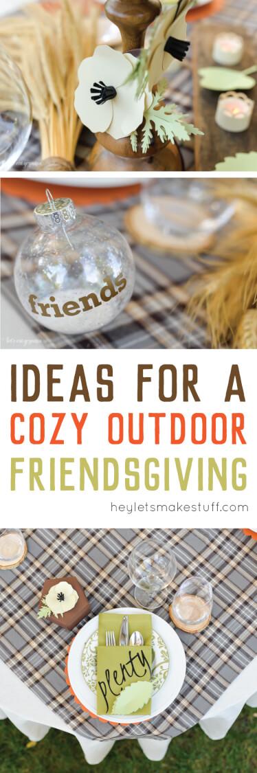 cozy outdoor friendsgiving pin image