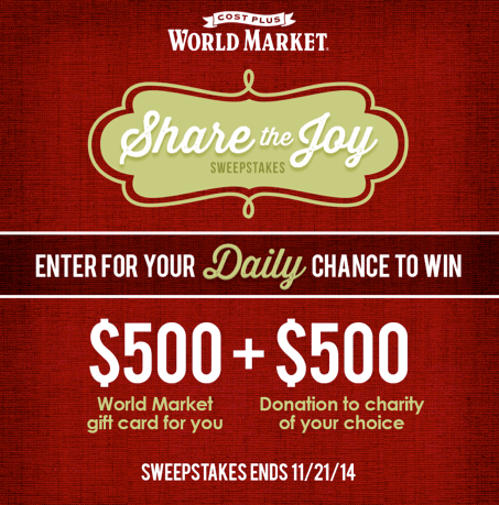 Share the Joy -- Enter DAILY for your chance to win a $500 WM gift card, plus $500 for a charity of your choice!