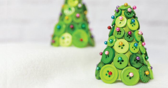 buttons straight pins and foam cone equal an adorable and easy christmas tree