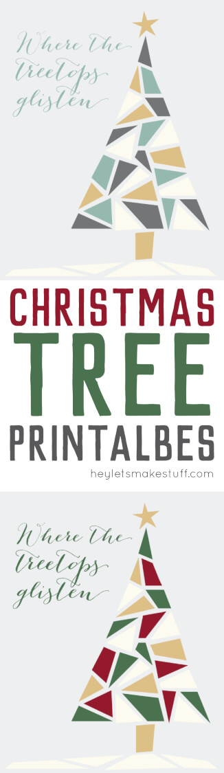 Free Christmas tree printable in traditional tones of green, red, and gold and modern tones of green, gold, gray, and white pin image