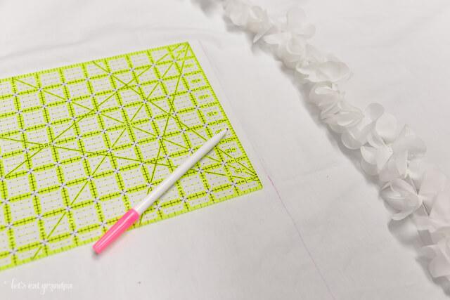 measuring flat sheet to make shower curtain