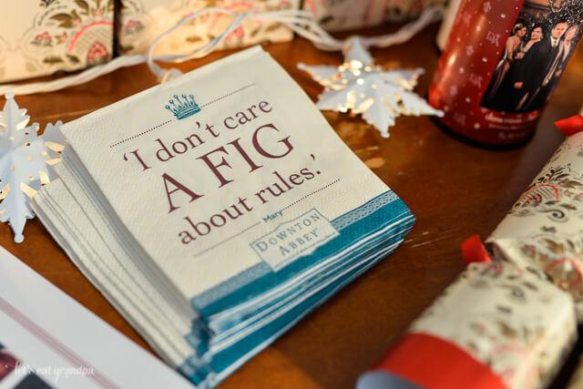 Downton Abbey napkins on table