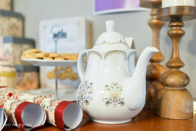 tea kettle and cookies for a tea party