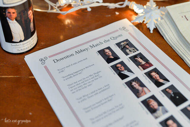 Downton Abbey quote game printable