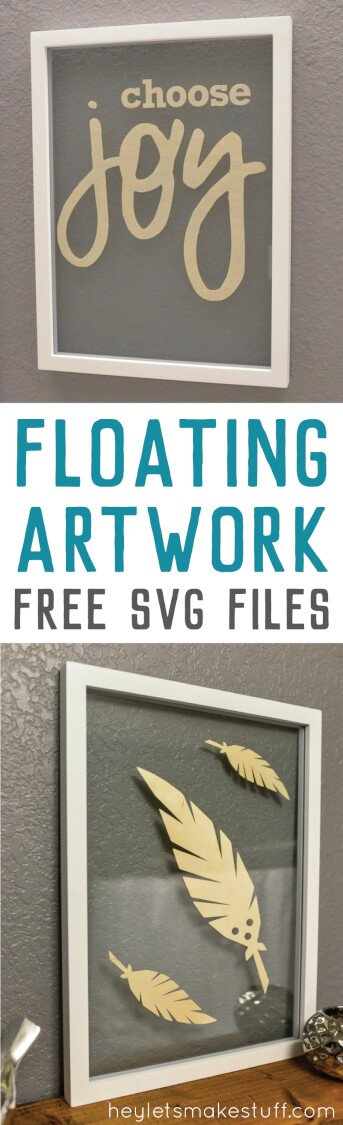 This DIY floating artwork is a simple decor project using your Cricut Explore! Get free SVG cut files, too!