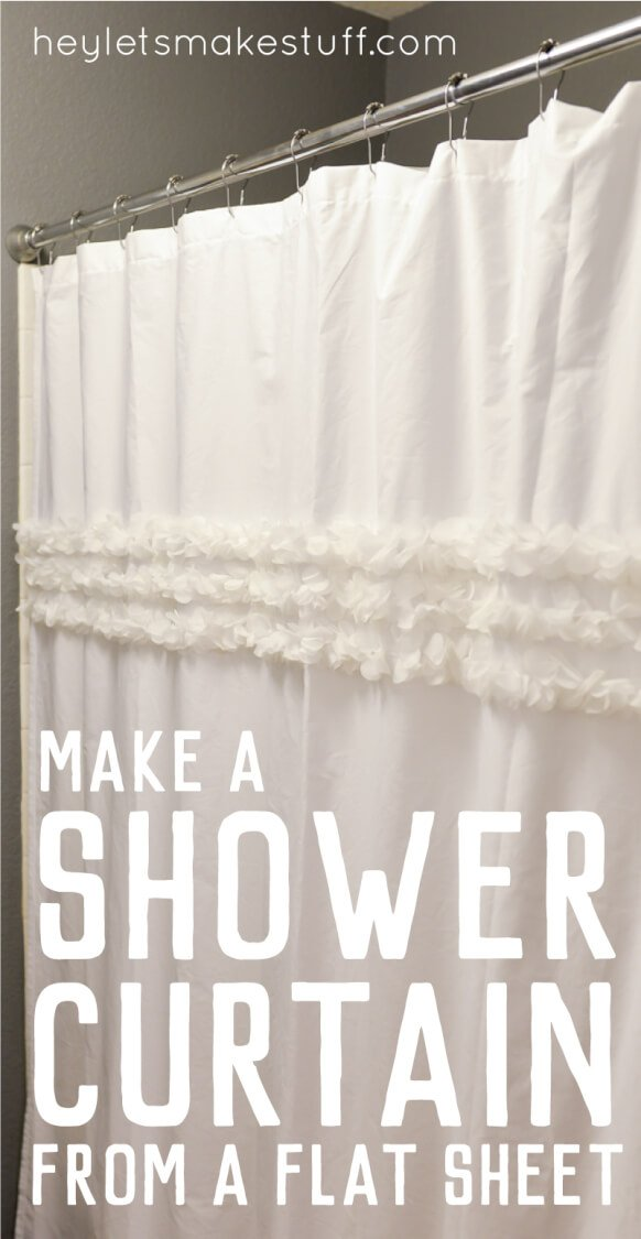 custom shower curtain using a flat sheet