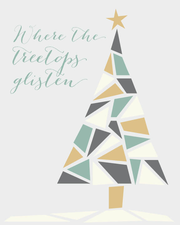 Free Christmas tree printable in muted tones of green, gold, and gray.