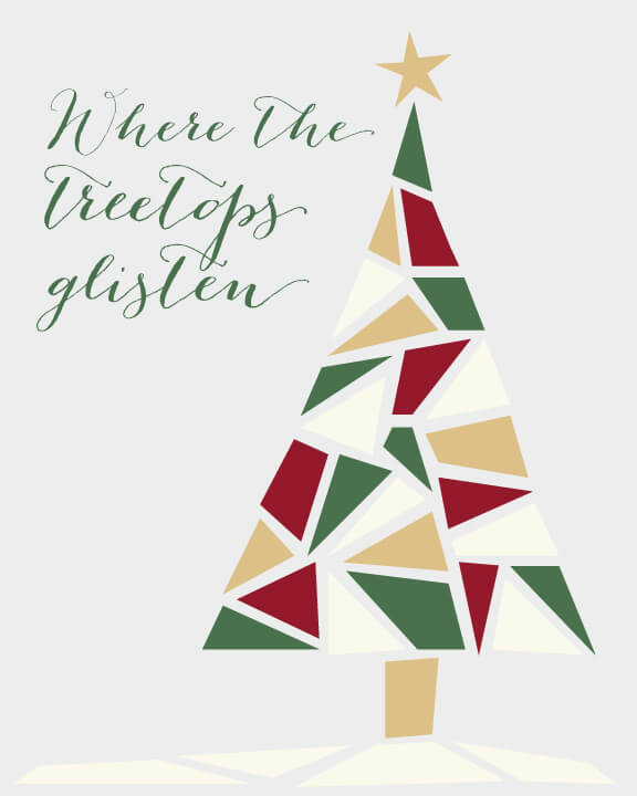 Free Christmas tree printable in traditional tones of green, red, and gold.