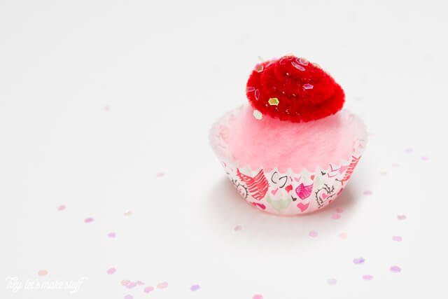 mini cupcake valentines with puff ball and felt topping