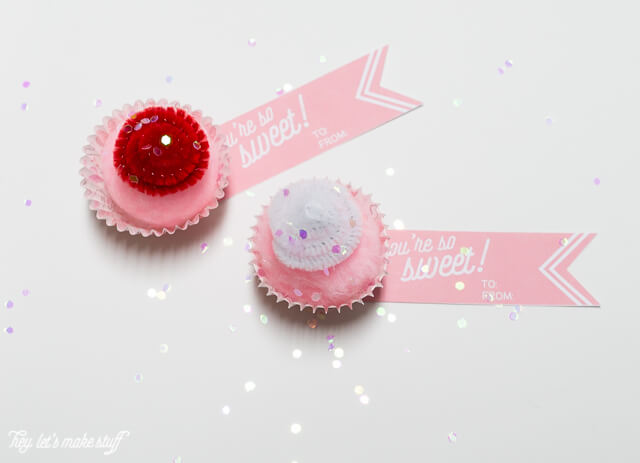 mini cupcake valentines with sweet printables
