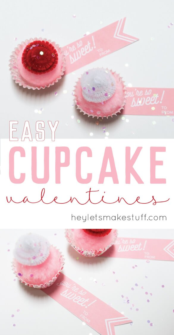 mini cupcake valentines with free printables pin image
