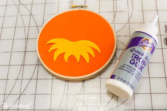 glueing cutouts for Dr. Suess DIY felt hoops
