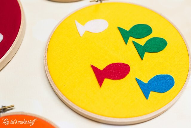One fish, two fish, red fish, blue fish, Dr. Suess DIY felt hoops