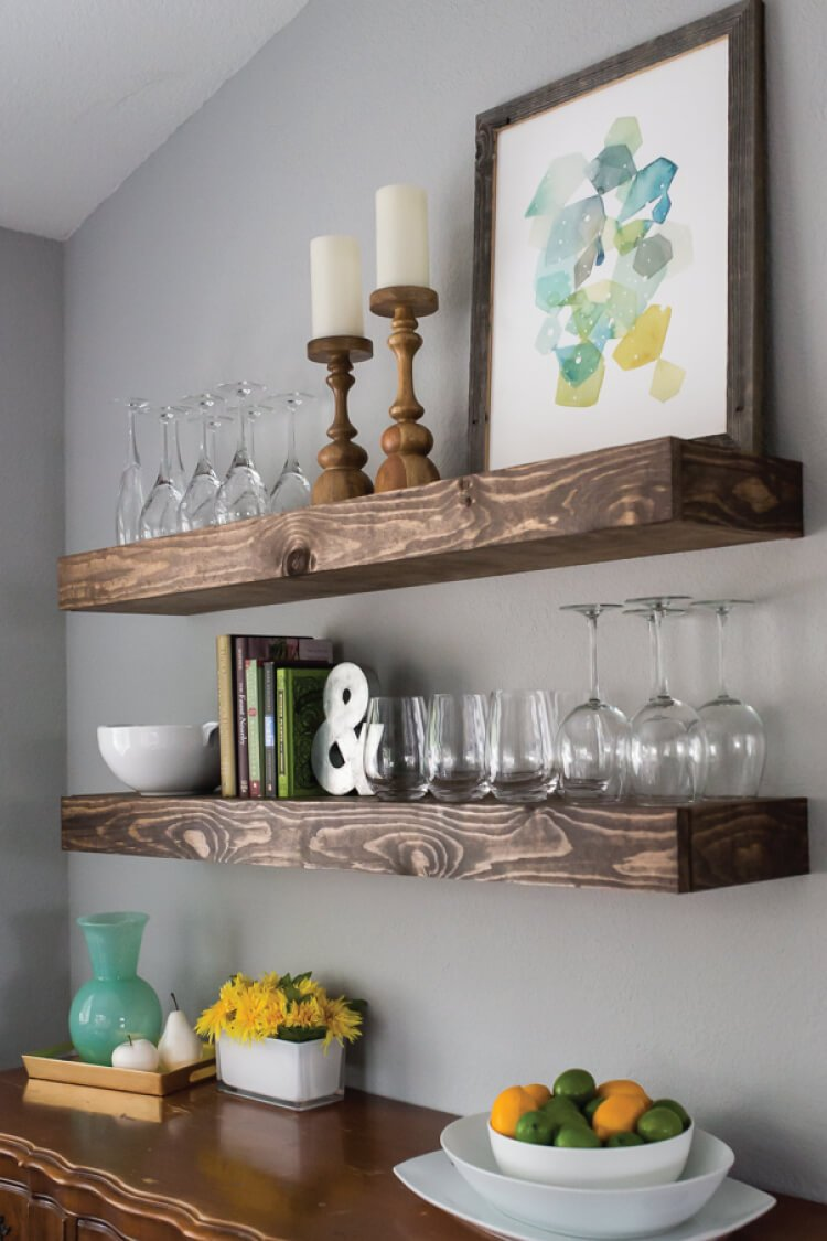 Floating Shelves create dining room storage with floating shelves - hey, let's make