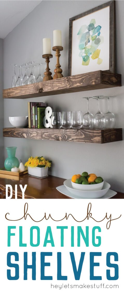 wooden floating shelves in kitchen with glasses and home decor pin image