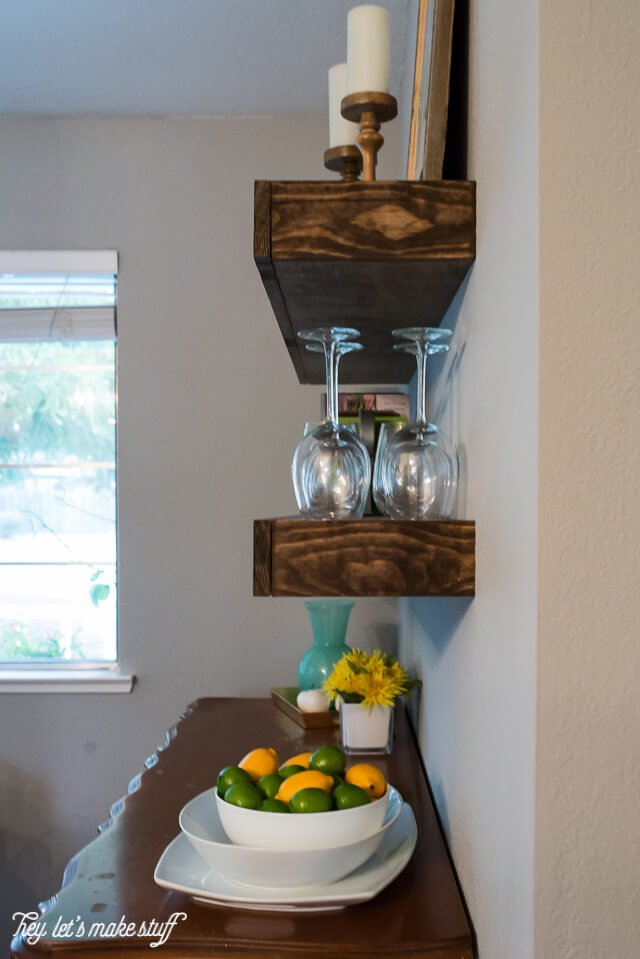 side view of finished hanging wooden floating shelf