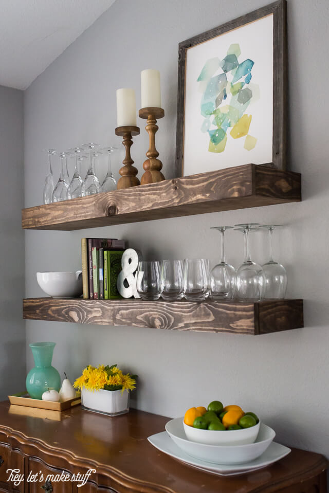 floating shelves for dining room storage