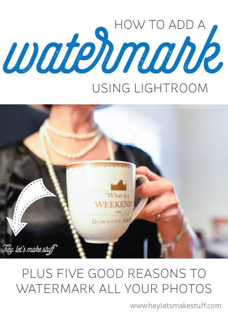 How to Create a Watermark on a Photo using Lightroom -- a helpful step-by-step tutorial with lots of photos.