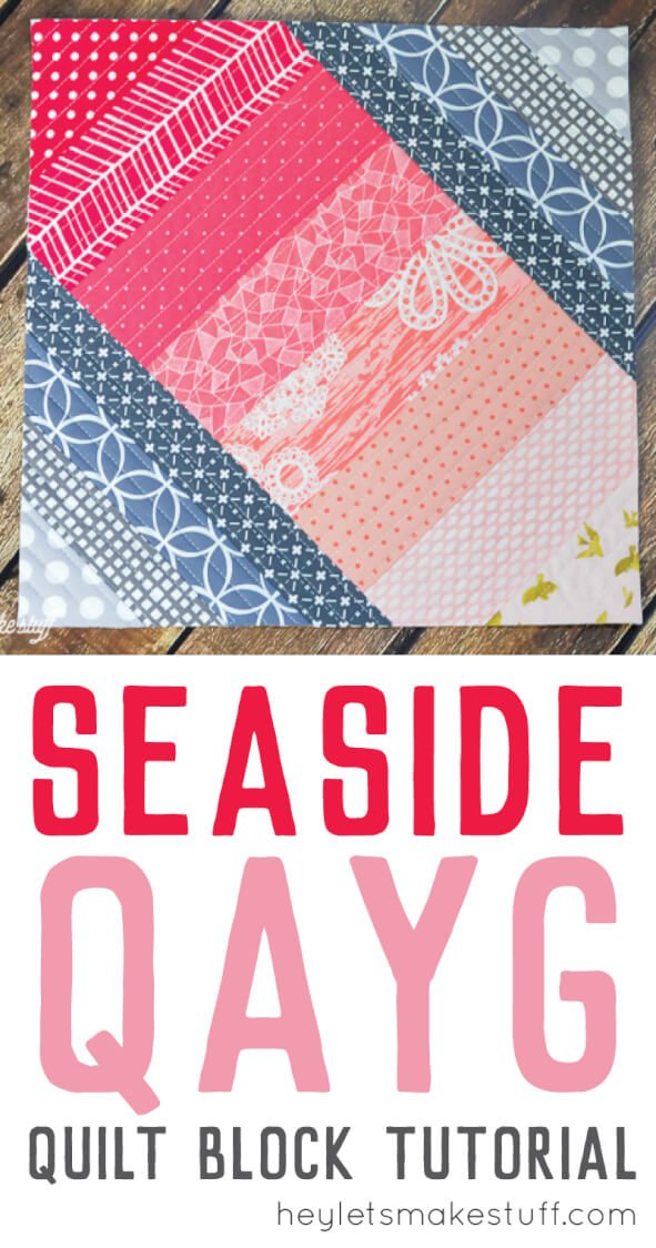 Using the quilt-as-you-go (QAYG) technique, you can make this easy Seaside Boardwalk quilt block! A fun sewing project that makes a great pillow or bag.
